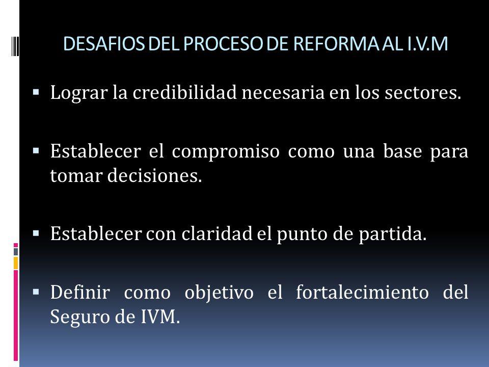 DESAFIOS DEL PROCESO DE REFORMA AL I.V.M Lograr la credibilidad necesaria en los sectores. Establecer el compromiso como una base para tomar decisione