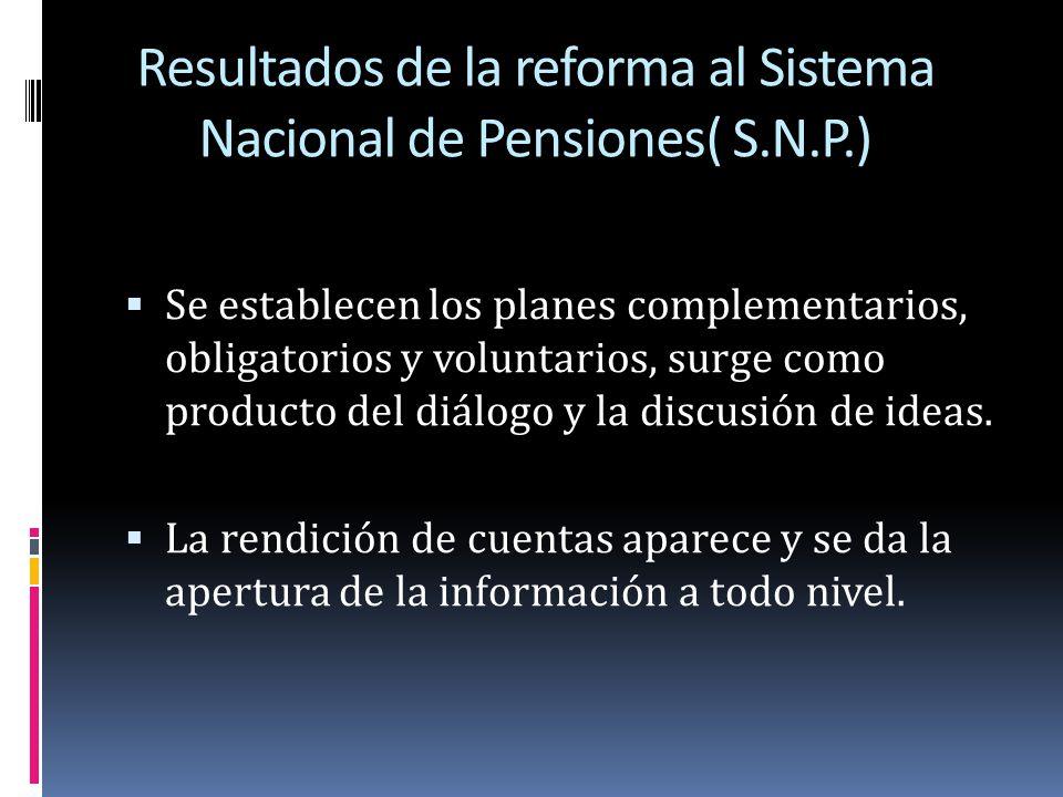 Resultados de la reforma al Sistema Nacional de Pensiones( S.N.P.) Se establecen los planes complementarios, obligatorios y voluntarios, surge como pr