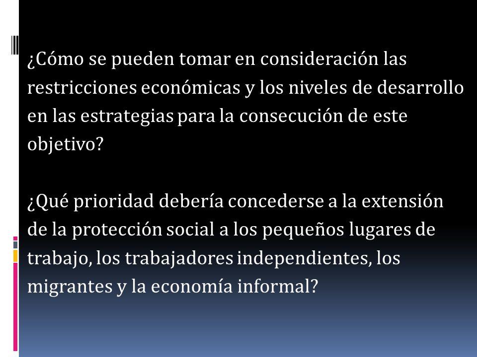 ¿Cómo se pueden tomar en consideración las restricciones económicas y los niveles de desarrollo en las estrategias para la consecución de este objetiv