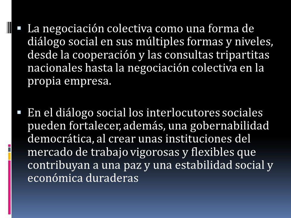 La negociación colectiva como una forma de diálogo social en sus múltiples formas y niveles, desde la cooperación y las consultas tripartitas nacional