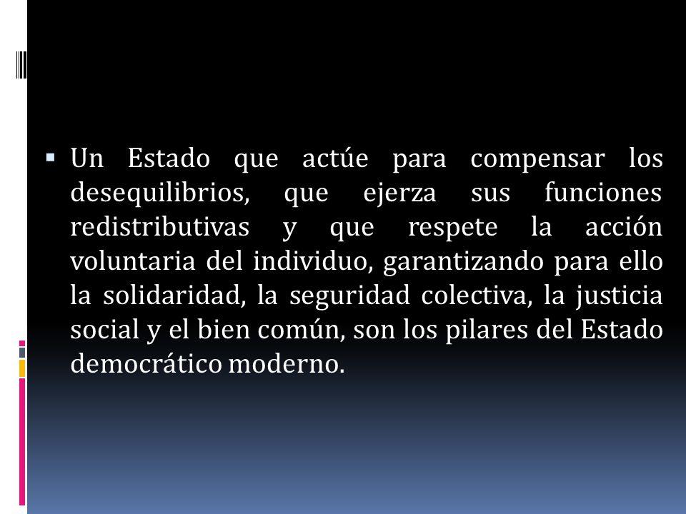 Un Estado que actúe para compensar los desequilibrios, que ejerza sus funciones redistributivas y que respete la acción voluntaria del individuo, gara