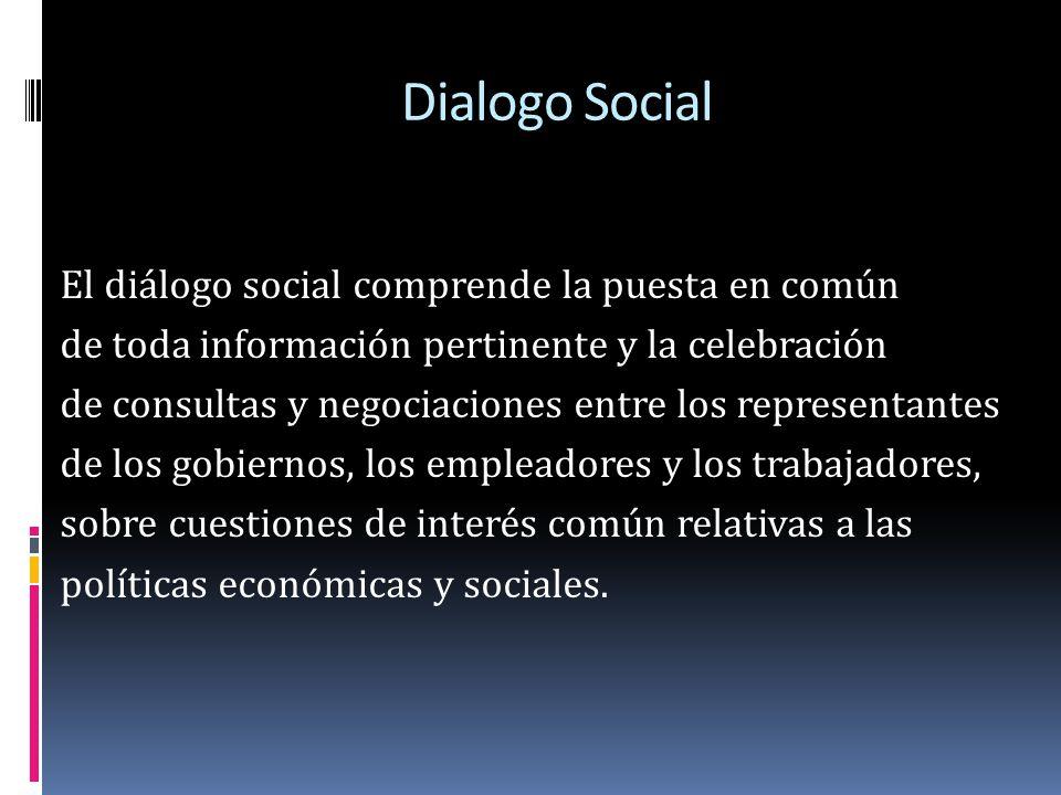 Dialogo Social El diálogo social comprende la puesta en común de toda información pertinente y la celebración de consultas y negociaciones entre los r