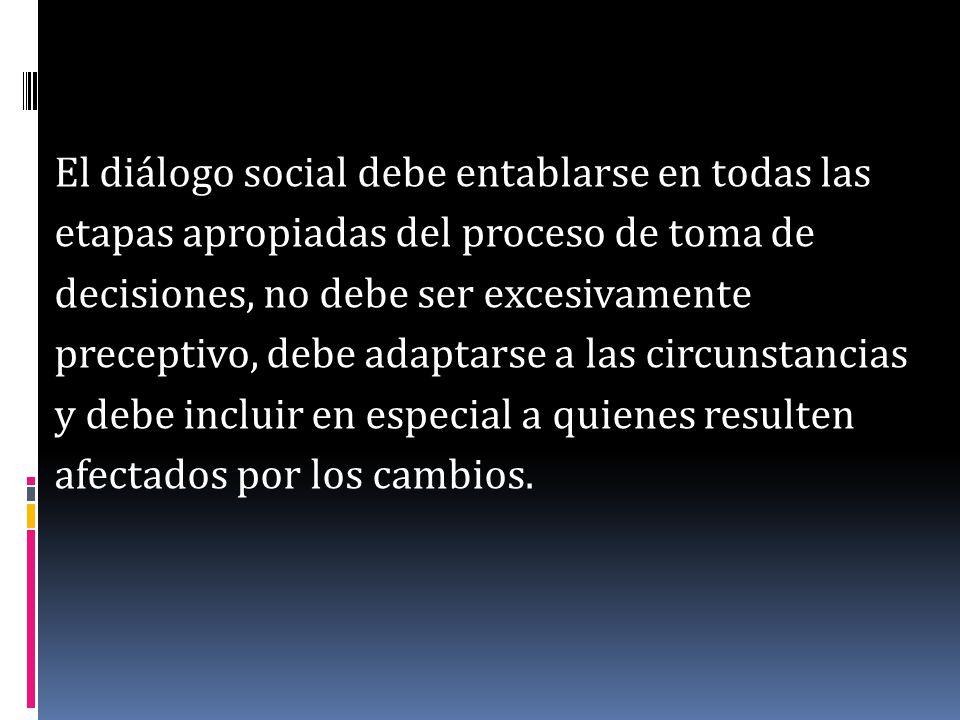 El diálogo social debe entablarse en todas las etapas apropiadas del proceso de toma de decisiones, no debe ser excesivamente preceptivo, debe adaptar