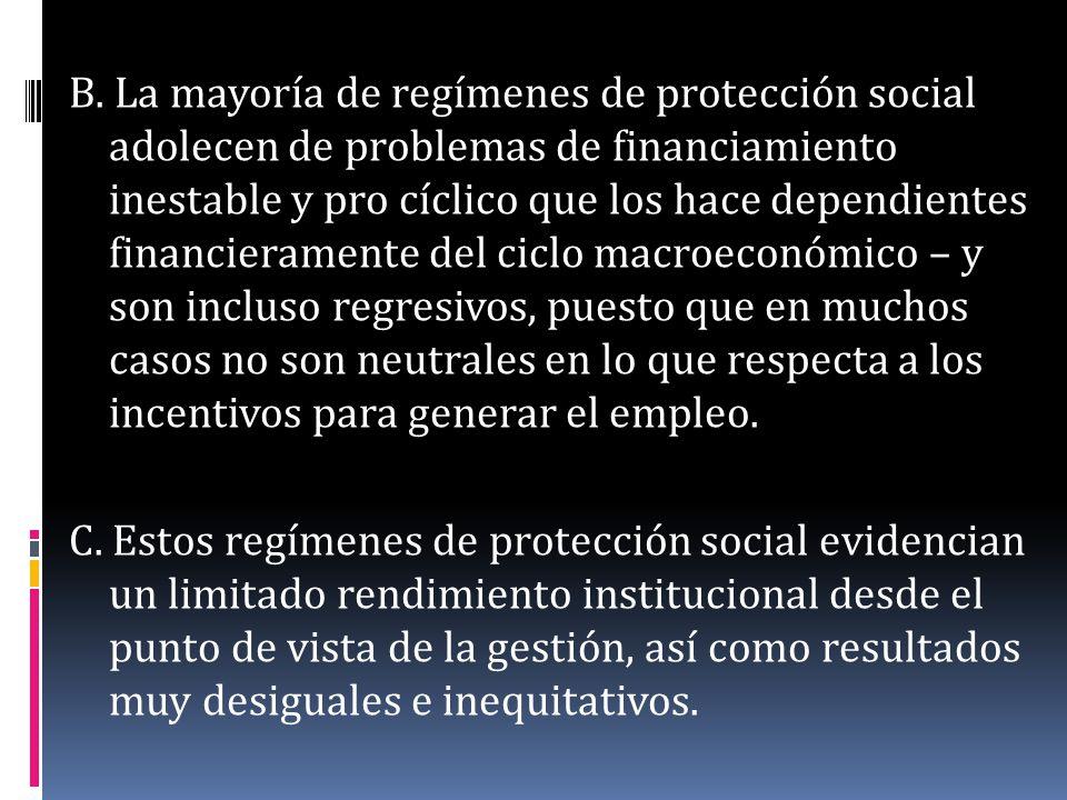 B. La mayoría de regímenes de protección social adolecen de problemas de financiamiento inestable y pro cíclico que los hace dependientes financierame