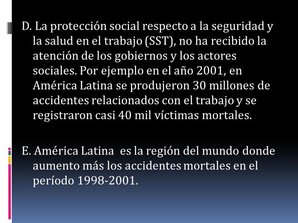 D. La protección social respecto a la seguridad y la salud en el trabajo (SST), no ha recibido la atención de los gobiernos y los actores sociales. Po