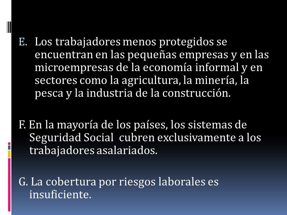 E. Los trabajadores menos protegidos se encuentran en las pequeñas empresas y en las microempresas de la economía informal y en sectores como la agric