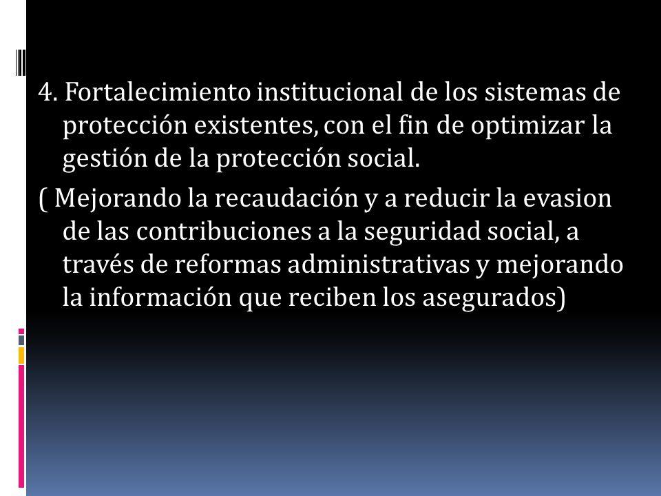 4. Fortalecimiento institucional de los sistemas de protección existentes, con el fin de optimizar la gestión de la protección social. ( Mejorando la