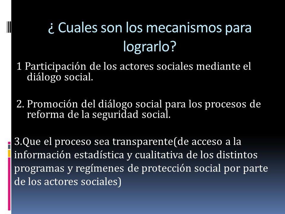 ¿ Cuales son los mecanismos para lograrlo? 1 Participación de los actores sociales mediante el diálogo social. 2. Promoción del diálogo social para lo