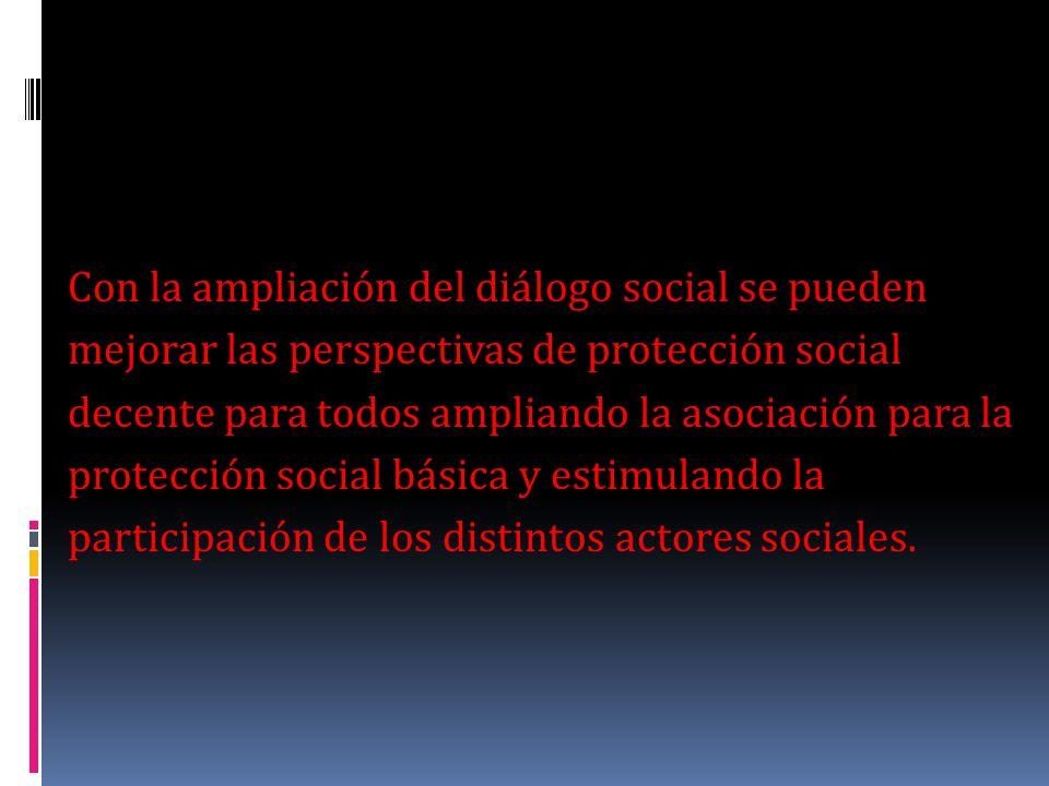 Con la ampliación del diálogo social se pueden mejorar las perspectivas de protección social decente para todos ampliando la asociación para la protec