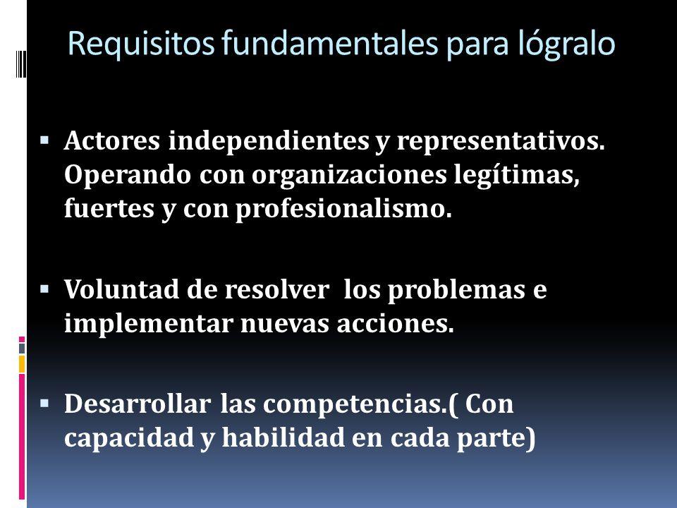 Requisitos fundamentales para lógralo Actores independientes y representativos. Operando con organizaciones legítimas, fuertes y con profesionalismo.