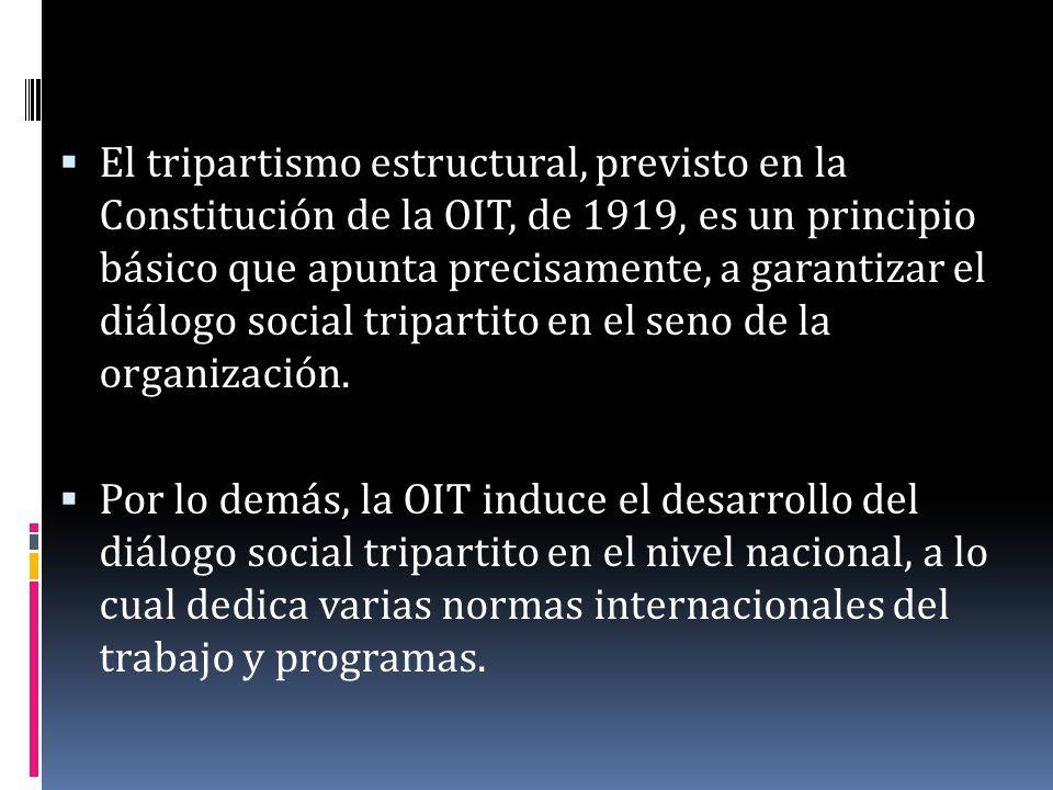 El tripartismo estructural, previsto en la Constitución de la OIT, de 1919, es un principio básico que apunta precisamente, a garantizar el diálogo so