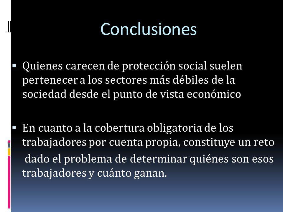 Conclusiones Quienes carecen de protección social suelen pertenecer a los sectores más débiles de la sociedad desde el punto de vista económico En cua