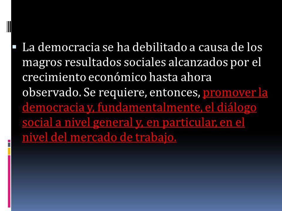 La democracia se ha debilitado a causa de los magros resultados sociales alcanzados por el crecimiento económico hasta ahora observado. Se requiere, e