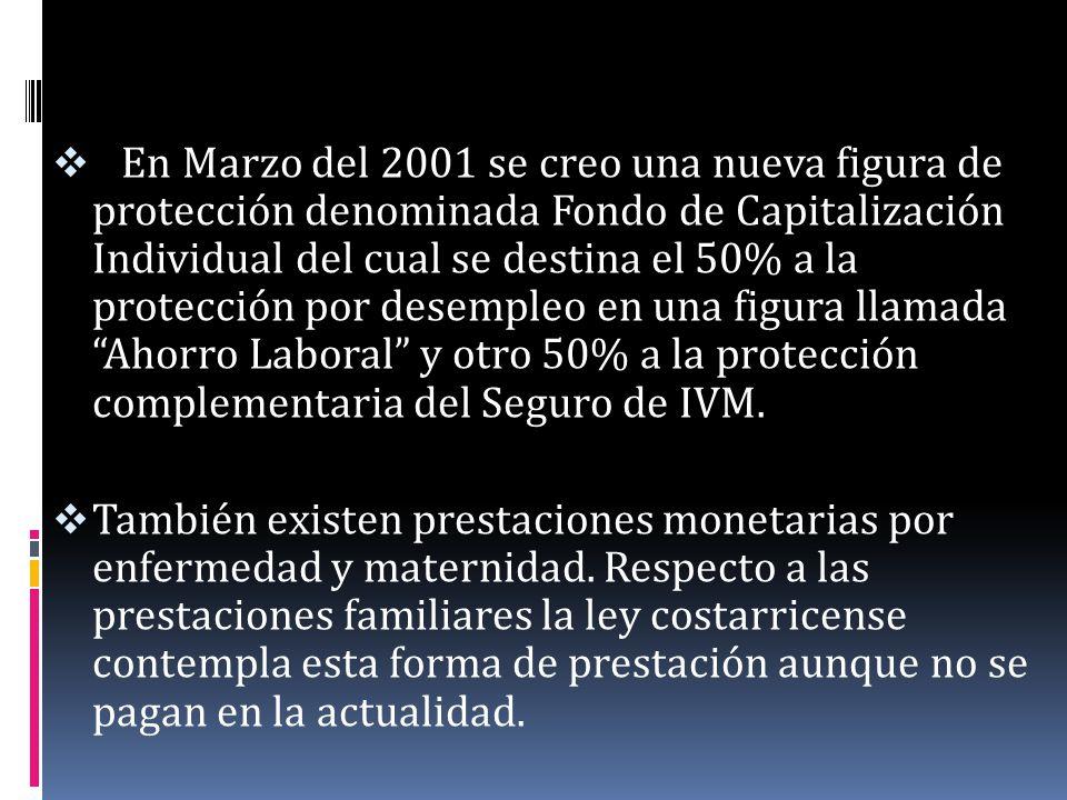 En Marzo del 2001 se creo una nueva figura de protección denominada Fondo de Capitalización Individual del cual se destina el 50% a la protección por