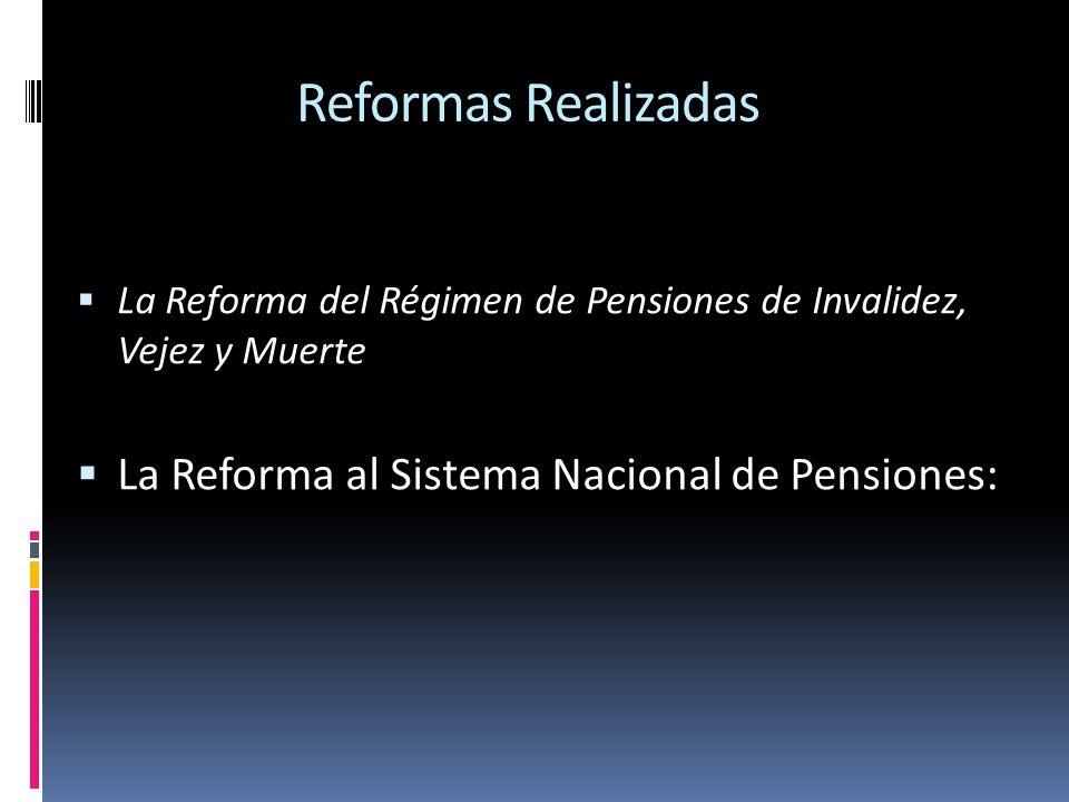Reformas Realizadas La Reforma del Régimen de Pensiones de Invalidez, Vejez y Muerte La Reforma al Sistema Nacional de Pensiones:
