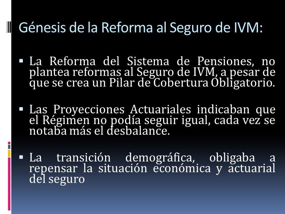 Génesis de la Reforma al Seguro de IVM: La Reforma del Sistema de Pensiones, no plantea reformas al Seguro de IVM, a pesar de que se crea un Pilar de
