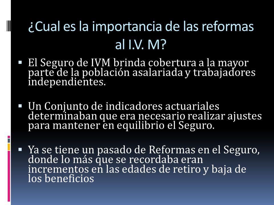 ¿Cual es la importancia de las reformas al I.V. M? El Seguro de IVM brinda cobertura a la mayor parte de la población asalariada y trabajadores indepe