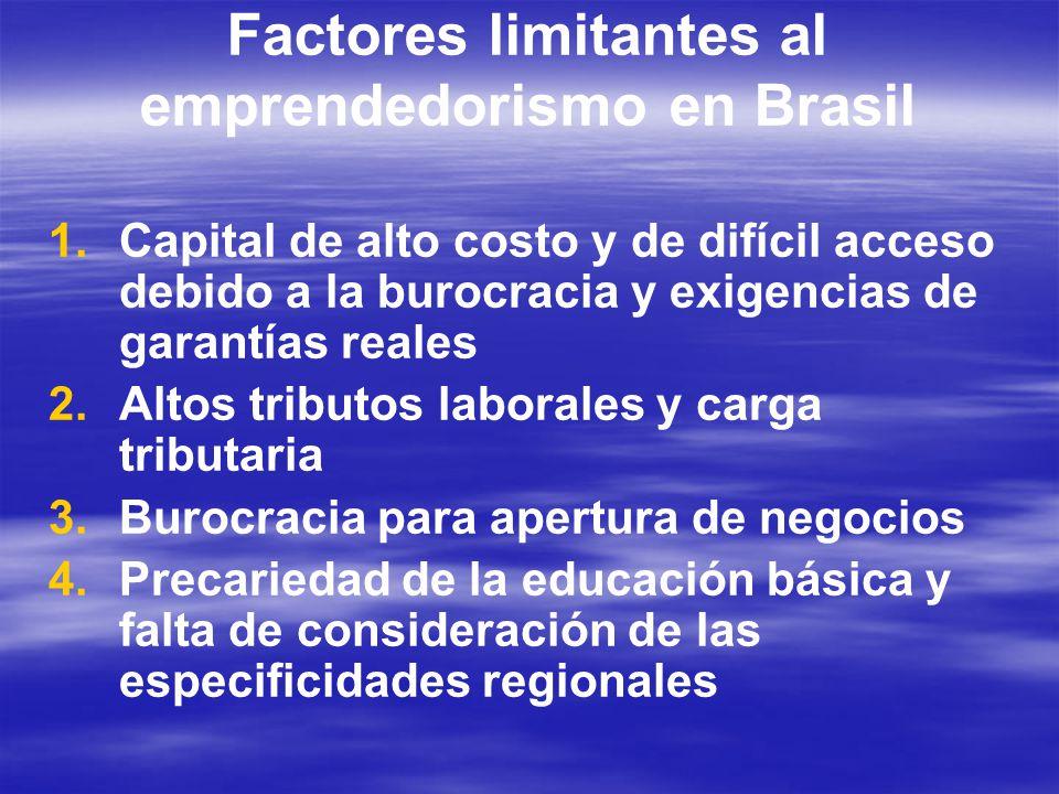 Factores limitantes al emprendedorismo en Brasil 1. 1.Capital de alto costo y de difícil acceso debido a la burocracia y exigencias de garantías reale