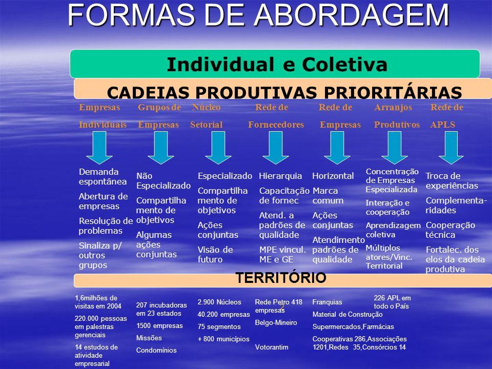 FORMAS DE ABORDAGEM Individual e Coletiva Cadeias Produtivas Prioritárias Empresas Grupos de Núcleo Rede de Rede de Arranjos Rede de Individuais Empre