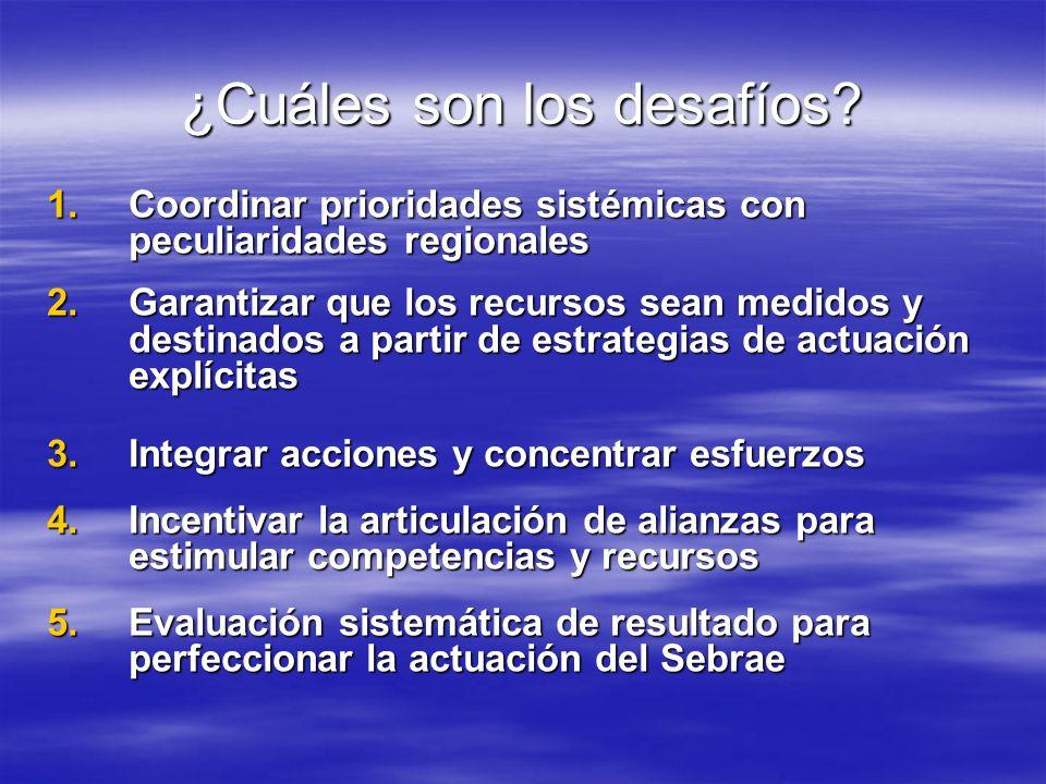 ¿Cuáles son los desafíos? 1.Coordinar prioridades sistémicas con peculiaridades regionales 2.Garantizar que los recursos sean medidos y destinados a p