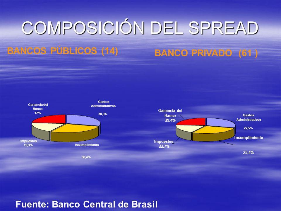 COMPOSICIÓN DEL SPREAD Ganancia del Banco 12% Impuestos 19,3% Incumplimiento 30,4% Gastos Administrativos 38,3% Ganancia del Banco 29,4% Impuestos 22,