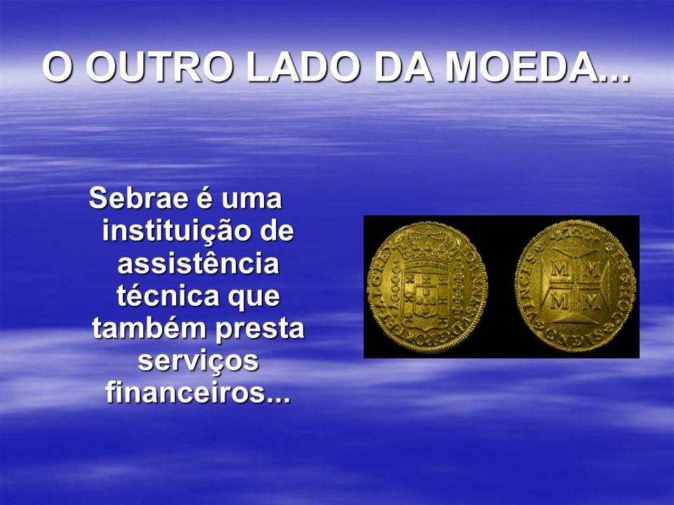 O OUTRO LADO DA MOEDA... Sebrae é uma instituição de assistência técnica que também presta serviços financeiros...