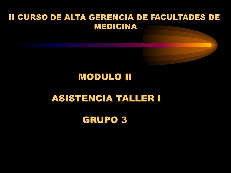 MODULO II ASISTENCIA TALLER I GRUPO 3 II CURSO DE ALTA GERENCIA DE FACULTADES DE MEDICINA