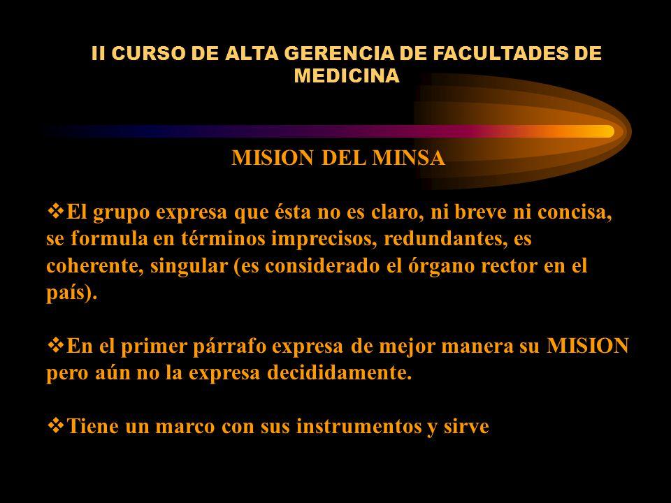 II CURSO DE ALTA GERENCIA DE FACULTADES DE MEDICINA MISION DEL MINSA El grupo expresa que ésta no es claro, ni breve ni concisa, se formula en término
