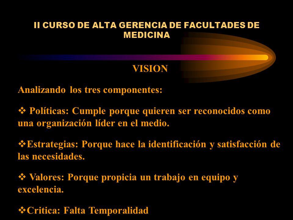 II CURSO DE ALTA GERENCIA DE FACULTADES DE MEDICINA VISION Analizando los tres componentes: Políticas: Cumple porque quieren ser reconocidos como una