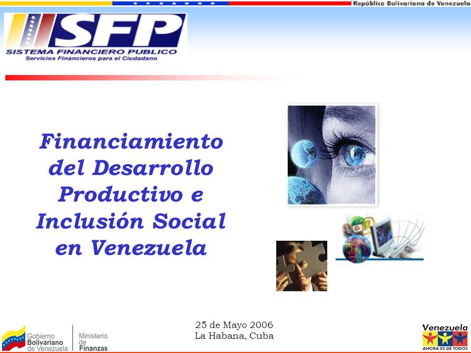 Financiamiento del Desarrollo Productivo e Inclusión Social en Venezuela 25 de Mayo 2006 La Habana, Cuba