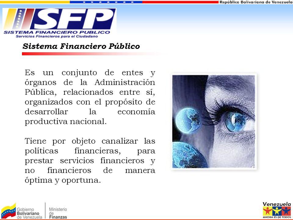 Sistema Financiero Público Es un conjunto de entes y órganos de la Administración Pública, relacionados entre sí, organizados con el propósito de desa
