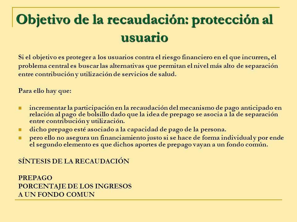 Objetivo de la recaudación: protección al usuario Si el objetivo es proteger a los usuarios contra el riesgo financiero en el que incurren, el problem