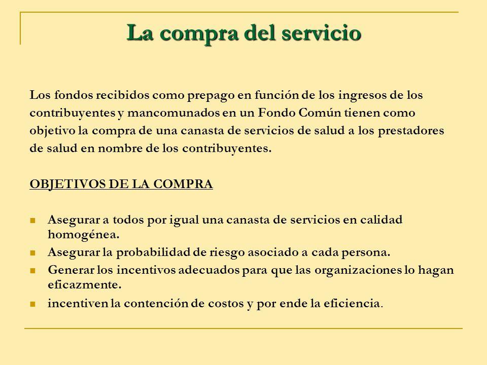La compra del servicio Los fondos recibidos como prepago en función de los ingresos de los contribuyentes y mancomunados en un Fondo Común tienen como