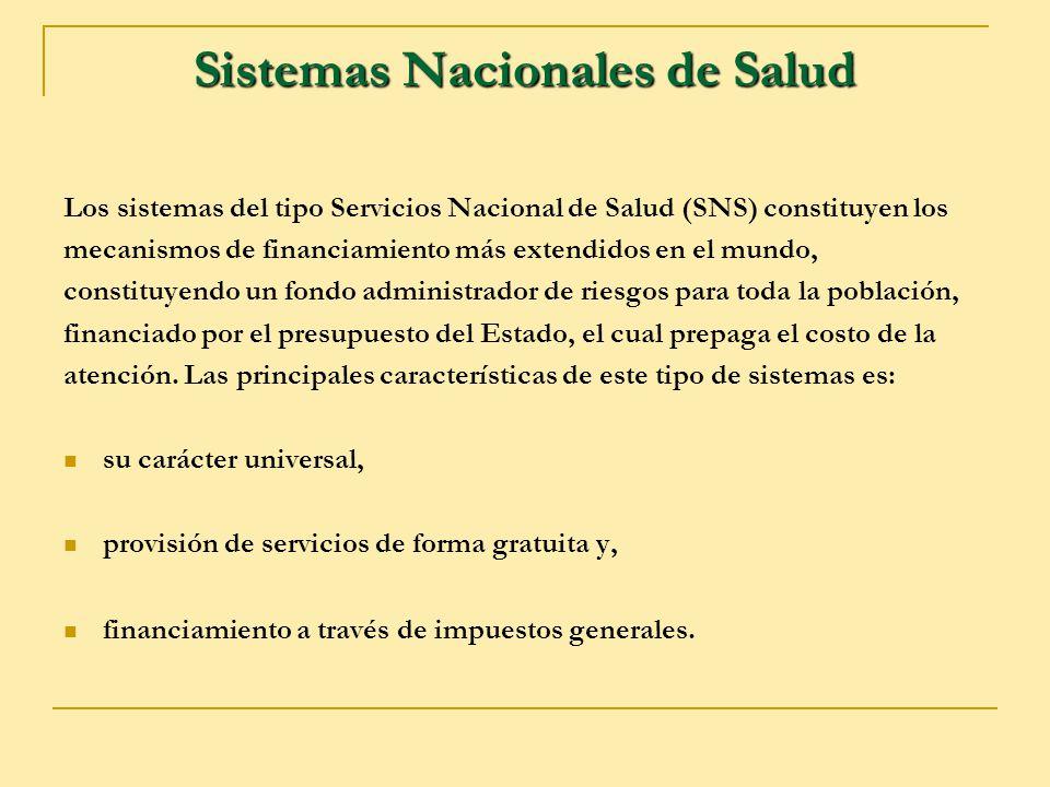 Sistemas Nacionales de Salud Los sistemas del tipo Servicios Nacional de Salud (SNS) constituyen los mecanismos de financiamiento más extendidos en el
