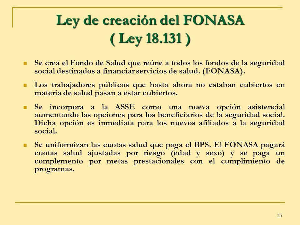 25 Ley de creación del FONASA ( Ley 18.131 ) Se crea el Fondo de Salud que reúne a todos los fondos de la seguridad social destinados a financiar serv