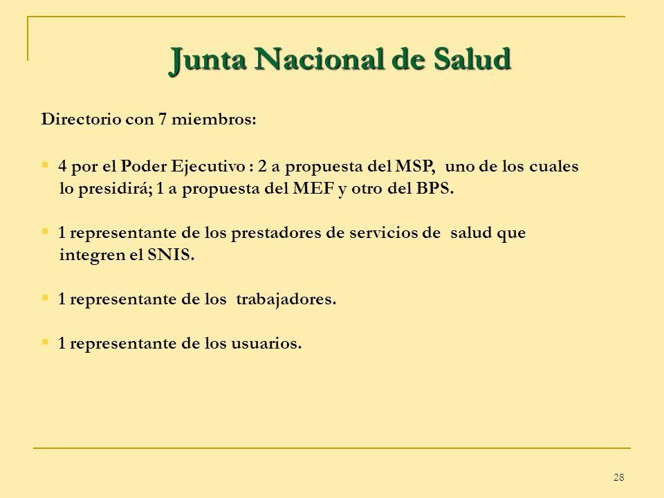 28 Junta Nacional de Salud Directorio con 7 miembros: 4 por el Poder Ejecutivo : 2 a propuesta del MSP, uno de los cuales lo presidirá; 1 a propuesta