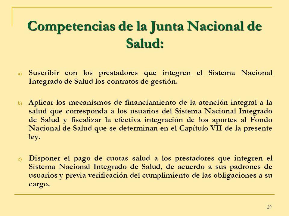 29 Competencias de la Junta Nacional de Salud: a) Suscribir con los prestadores que integren el Sistema Nacional Integrado de Salud los contratos de g