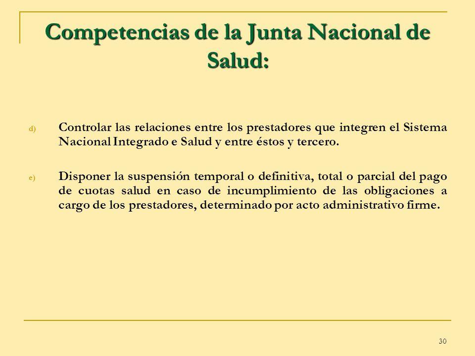 30 Competencias de la Junta Nacional de Salud: d) Controlar las relaciones entre los prestadores que integren el Sistema Nacional Integrado e Salud y