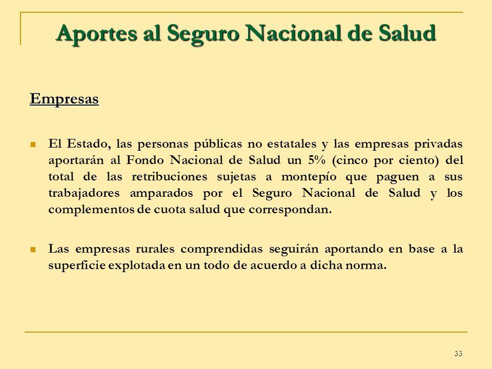 33 Aportes al Seguro Nacional de Salud Empresas El Estado, las personas públicas no estatales y las empresas privadas aportarán al Fondo Nacional de S