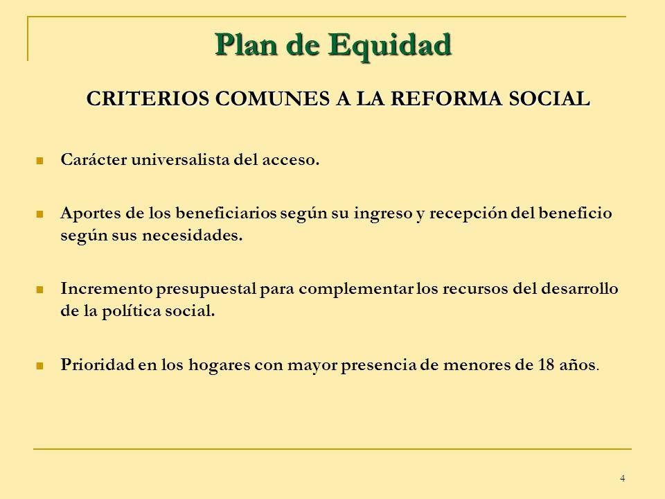 4 Plan de Equidad CRITERIOS COMUNES A LA REFORMA SOCIAL Carácter universalista del acceso. Aportes de los beneficiarios según su ingreso y recepción d