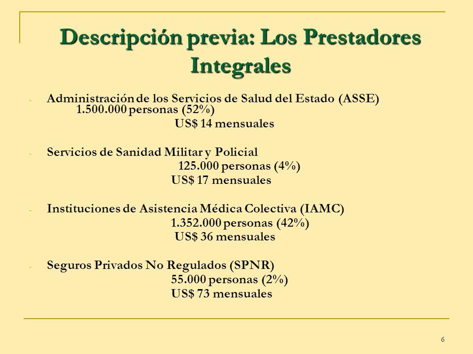 6 Descripción previa: Los Prestadores Integrales - Administración de los Servicios de Salud del Estado (ASSE) 1.500.000 personas (52%) US$ 14 mensuale