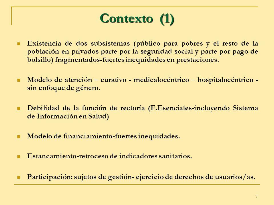 7 Contexto (1) Existencia de dos subsistemas (público para pobres y el resto de la población en privados parte por la seguridad social y parte por pag
