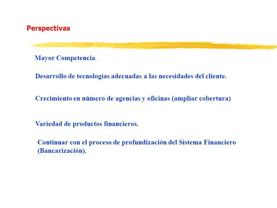 Perspectivas Mayor Competencia. Desarrollo de tecnologías adecuadas a las necesidades del cliente. Crecimiento en número de agencias y oficinas (ampli