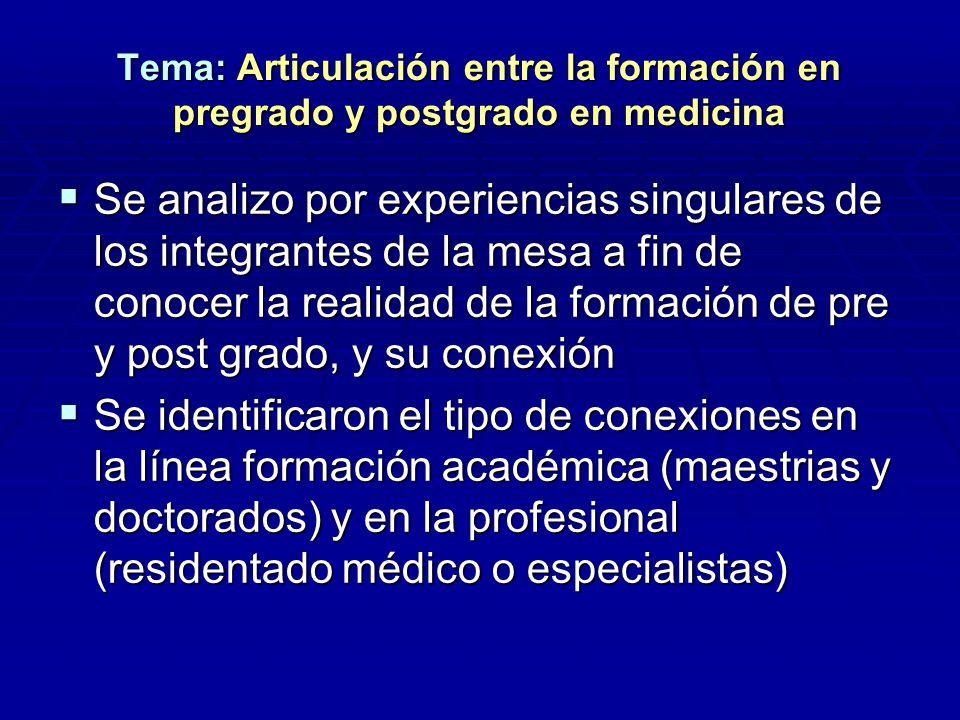 Tema: Articulación entre la formación en pregrado y postgrado en medicina Se analizo por experiencias singulares de los integrantes de la mesa a fin d