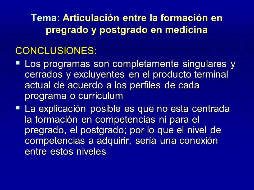 Tema: Articulación entre la formación en pregrado y postgrado en medicina CONCLUSIONES: Los programas son completamente singulares y cerrados y excluy