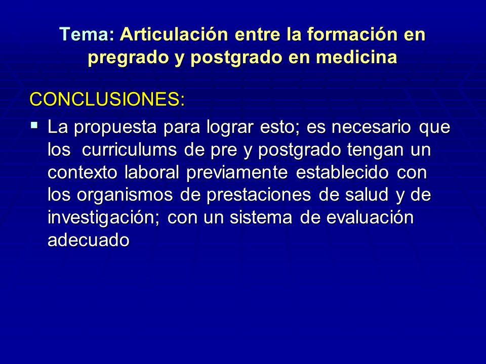 Tema: Articulación entre la formación en pregrado y postgrado en medicina CONCLUSIONES: La propuesta para lograr esto; es necesario que los curriculum