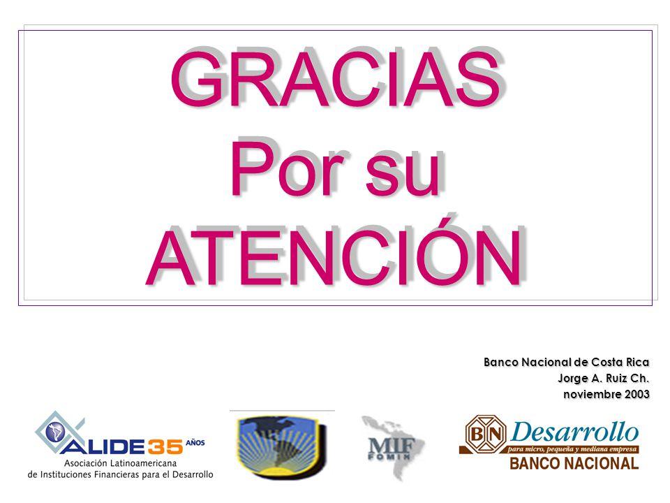 GRACIAS Por su ATENCIÓNGRACIAS ATENCIÓN Banco Nacional de Costa Rica Jorge A. Ruiz Ch. noviembre 2003