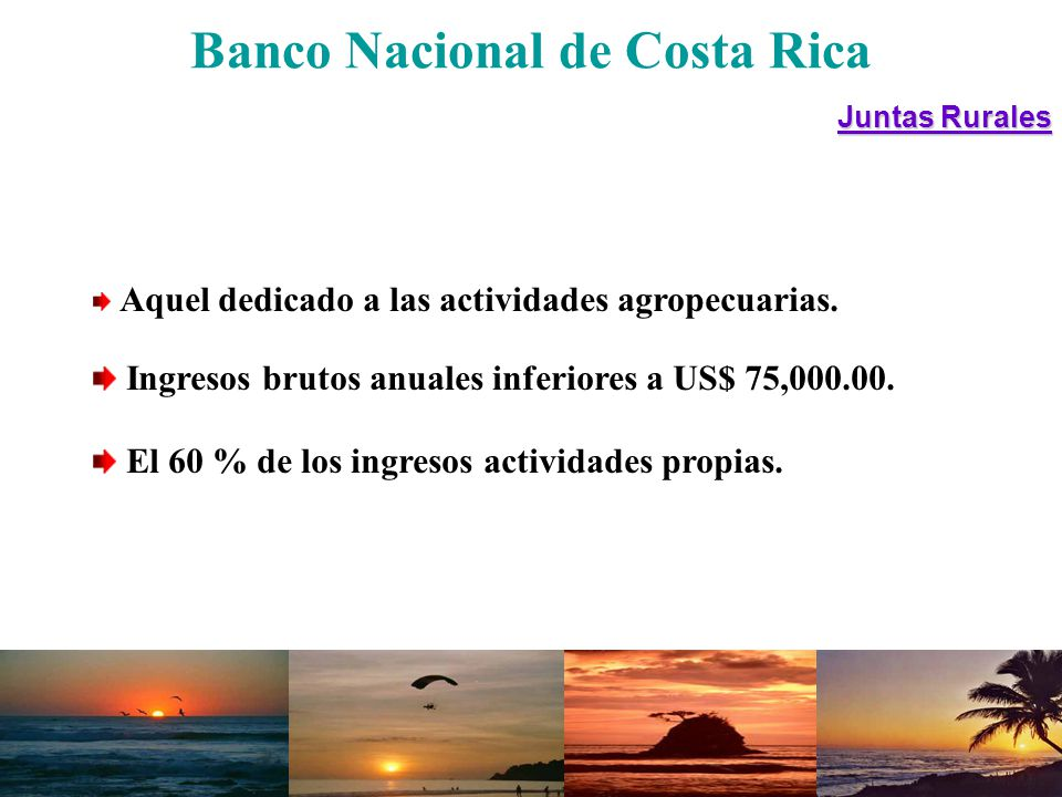 Banco Nacional de Costa RicaCondiciones GarantíaSatisfacción Plazos A ctividad o proyecto Monto máximo US$ 37,900.00 y US$ 600,000.00 Tasa de interés Ajustable Convencional ModalidadLínea de crédito Segundo piso Comisión 0.5 %