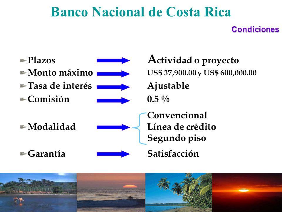 Banco Nacional de Costa RicaCondiciones GarantíaSatisfacción Plazos A ctividad o proyecto Monto máximo US$ 37,900.00 y US$ 600,000.00 Tasa de interés