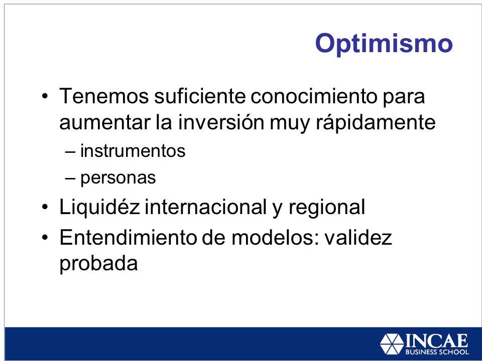 Optimismo Tenemos suficiente conocimiento para aumentar la inversión muy rápidamente –instrumentos –personas Liquidéz internacional y regional Entendimiento de modelos: validez probada